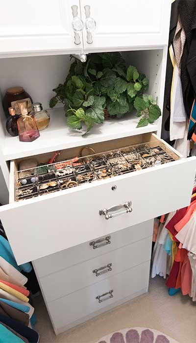 closet hutch features an acrylic drawer organizer for jewelry