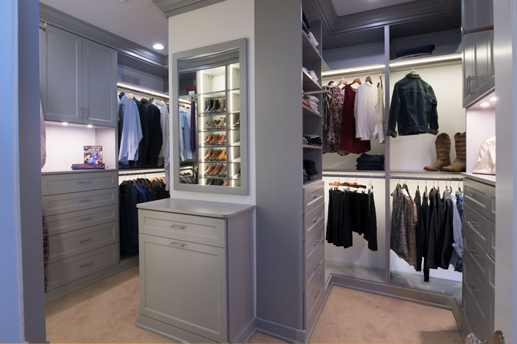 closet with staging areas for packing a suitcase or office papers