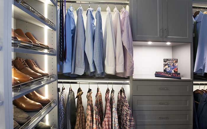 supremely organized dressing room closet