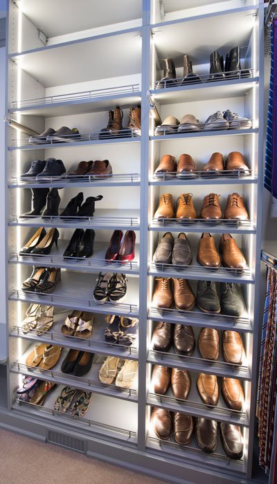 shoe storage with LED closet lighting system