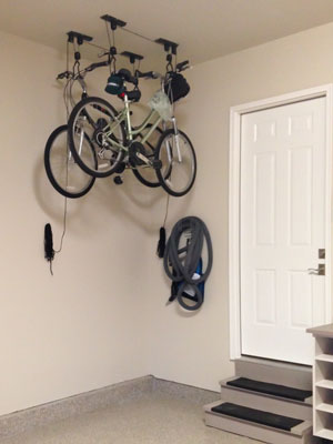 custom garage pulley bike storage