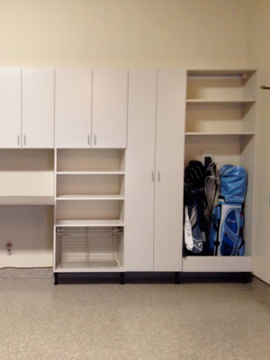 custom garage cabinetry for storage of golf equipment