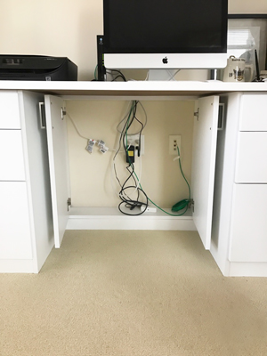 home office wire management cabinet below desk doors open