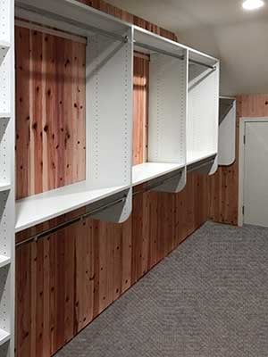 custom cedar closet with sloped ceiling