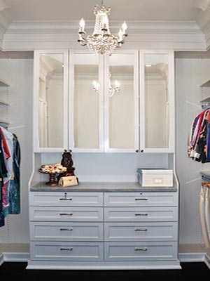 Craftsman style closet design with built-in hutch