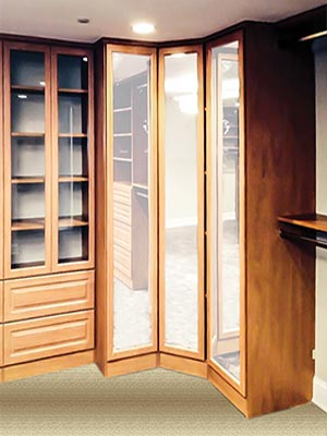 Custom walk-in closet with 3-way mirror