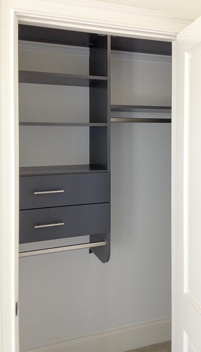 custom reach-in closet in Moonlight - gray thermally fused laminate