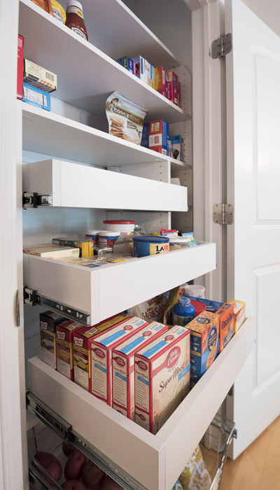 small reach-in pantry with pantry pull-outs