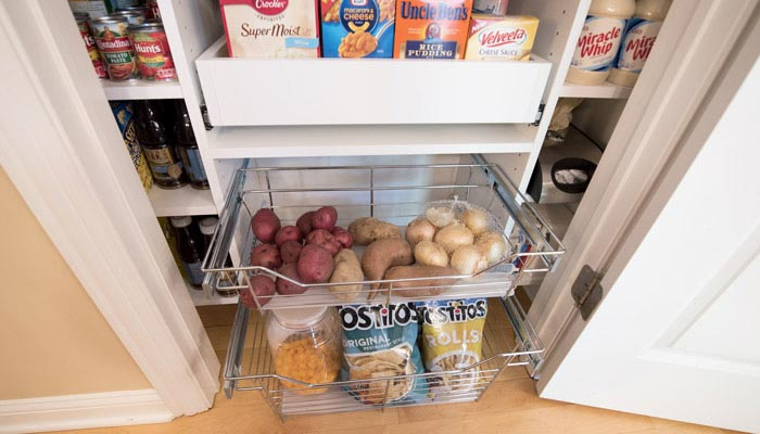 increase storage in small pantry with wire baskets and pull-out shelves