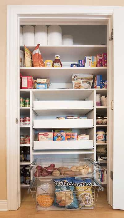 Long Narrow Pantry With Pull Out Pantry Shelves Located