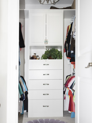 custom walk-in closet with locking jewelry drawer and pull-out hamper