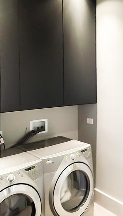 Laundry cabinets in Slate thermally fused laminate