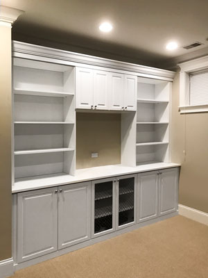 custom basement wall unit with wire insert