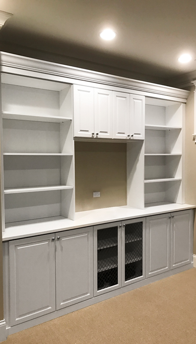 custom wall unit door fronts in harmony