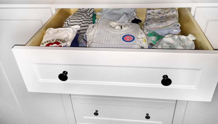 storage closets with drawers for folding baby clothing