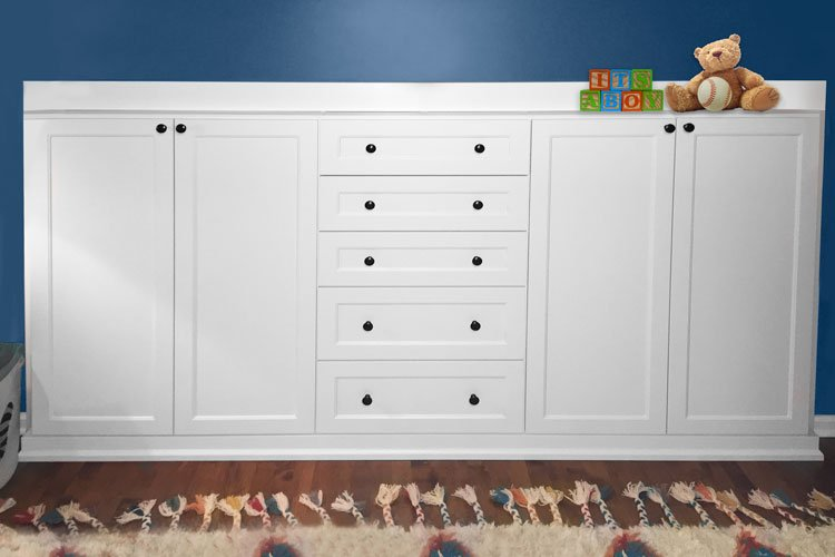 Custom storage closets with cut out for radiator pipe
