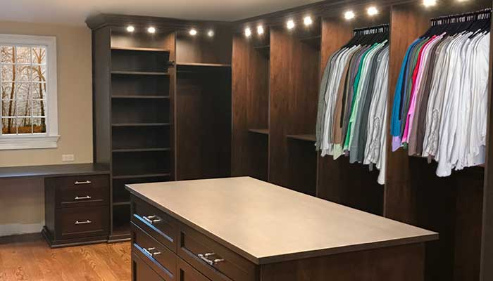 built in closet desks