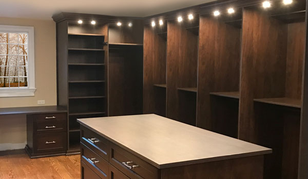 Master Walk In Closets Design With Two Closet Islands And Closet Desk