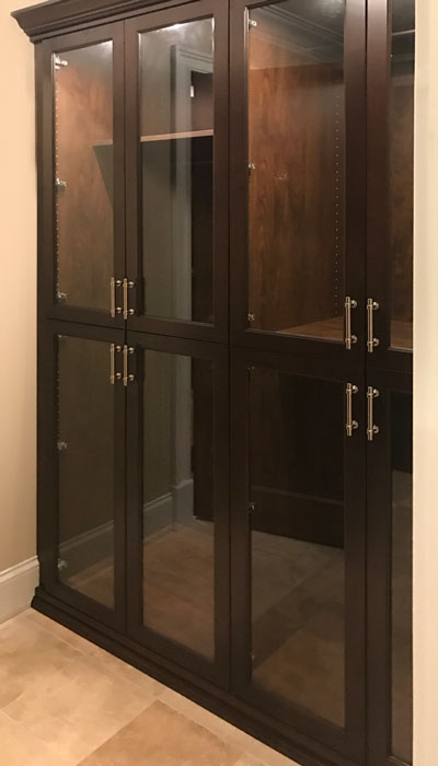 large closet ideas include custom glass cabinets for closet storage