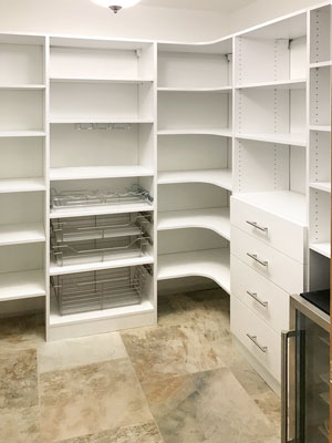 custom pantry organization system for walk in pantry closet