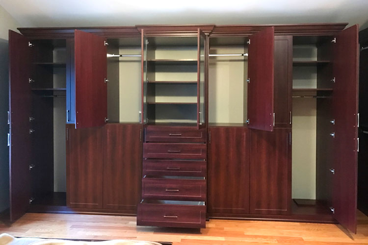 custom bedroom closet wardrobes with doors and drawers open