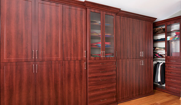 Armoir style two piece wardrobe closet with reeded glass for custom wardrobes