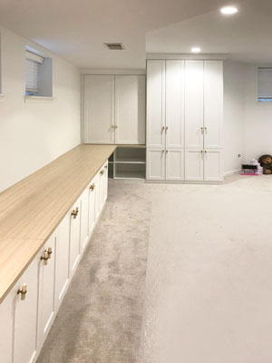 custom basement playroom by closet works