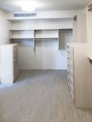 closet design for varied height ceiling