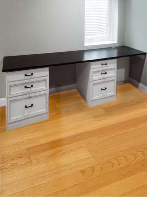 desk for home office nook with seating for two