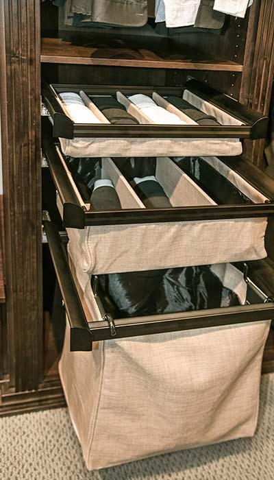 cloth drawers in closet are easy to retrofit