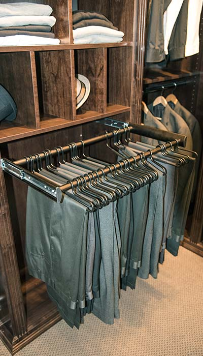 Engage pull-out pant rack custom closet accessory