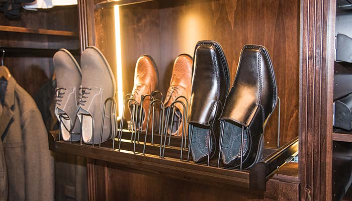 Engage pull-out shoe organizer custom closet accessory