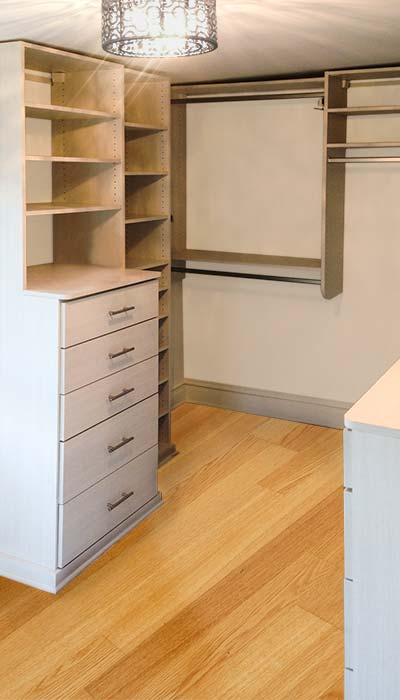 Custom walk-in closet system with hutch in Diva thermally fused laminate - TFL