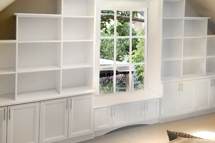 custom wall unit organization system with villa doors