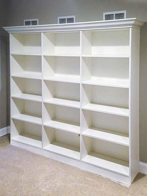 custom wall unit with open shelving