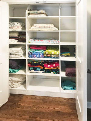 linen closet for bathroom storage