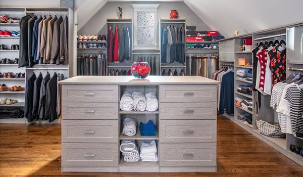 Master Walk In Closet Dressing Room for Sloped Ceiling Room