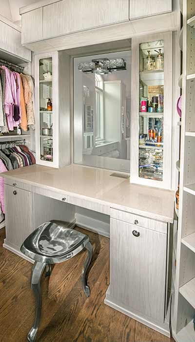 custom built-in closet vanity