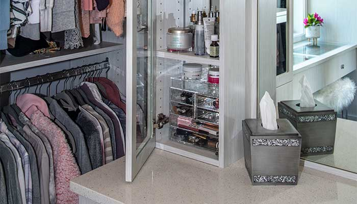 Cabinet for makeup storage inside of a closet dressing room