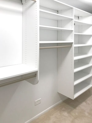 suspended walk in closet system