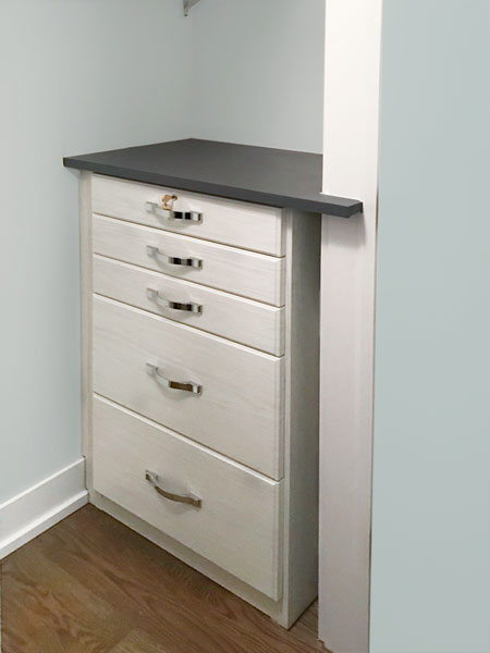 home office cabinet with strap harware in polished chrome finish