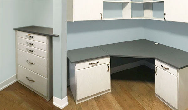 corner home office symmetrical design with secure storage