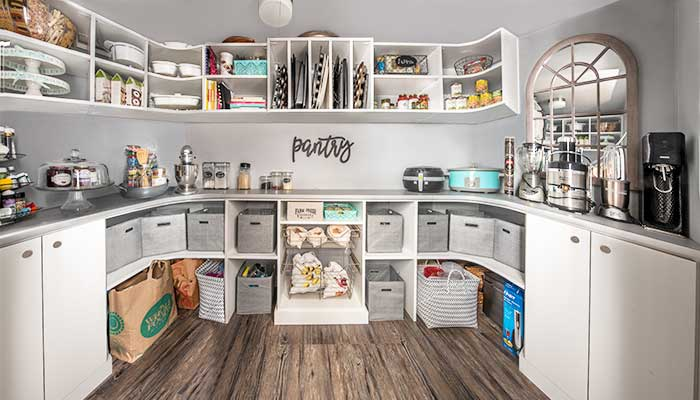 Pantry closet built in basement adds storage for small kitchen