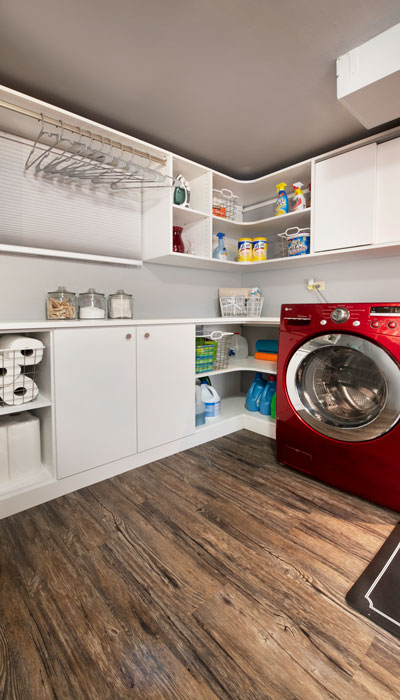 laundry room is maximixed for storage and organization
