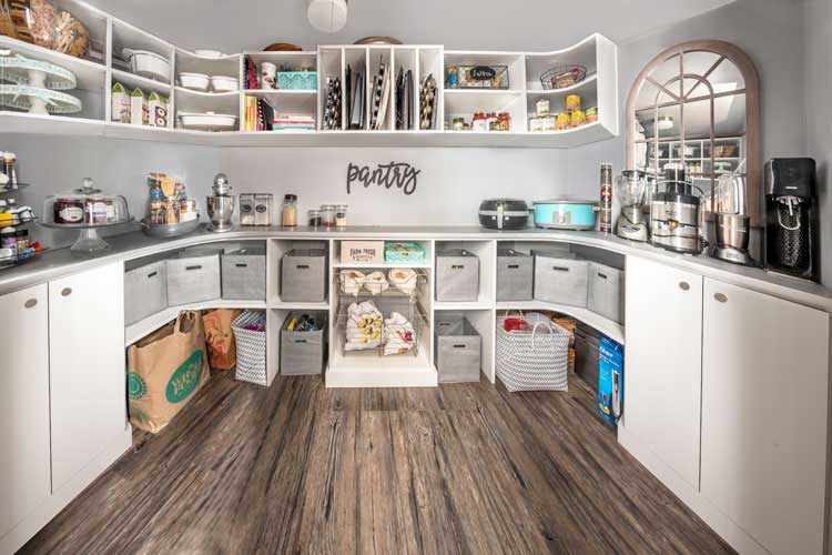 Pantry closet system designed for compact space and small pantry cabinet