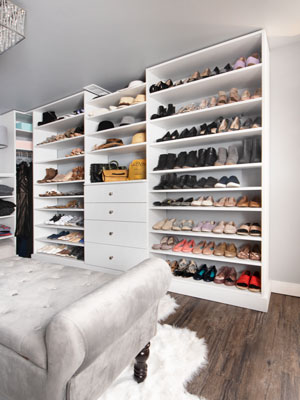 shoe shelves in master closet basement transformation