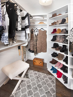 closet created in basement to store extra clothing
