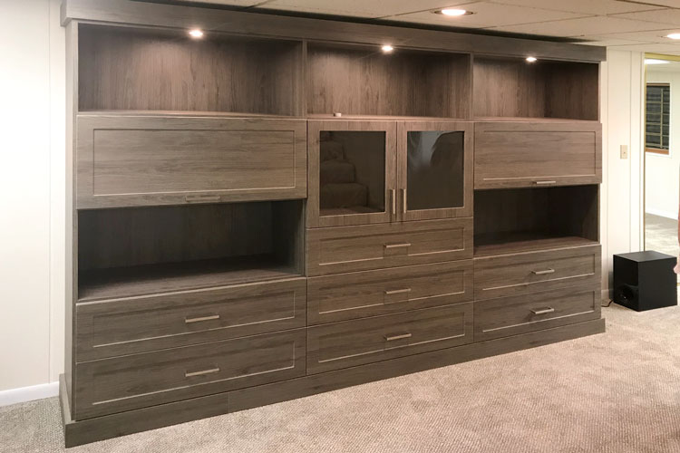 basement wall unit in blackwood laminate