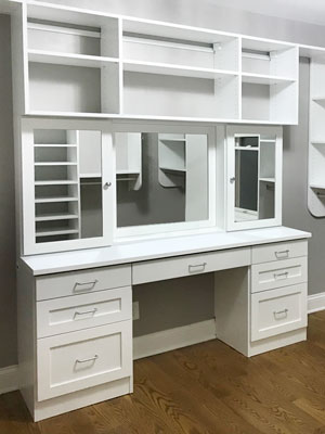 walk in closet with built in vanity desk