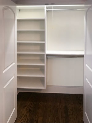 reach in closet with storage essentials